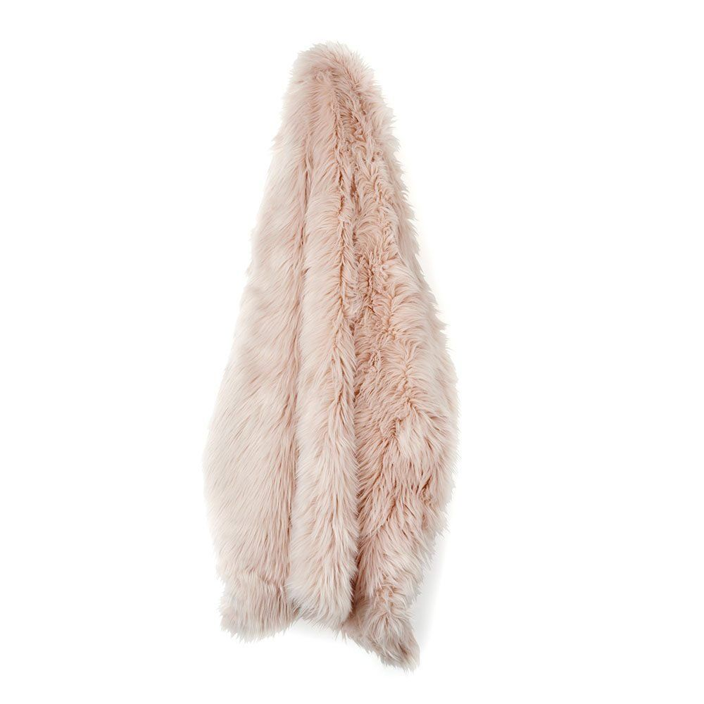 Amazon.com: Nicole Miller Blush Rose Gold Luxury Mongolian Lamb Wool Faux  Fur High