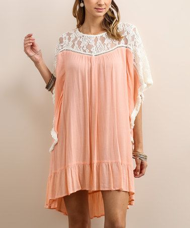 Another great find on #zulily! Pink Lace-Accent Shift Tunic #zulilyfinds