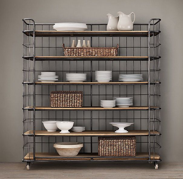 Circa 1900 Caged Baker S Rack Wide Single Shelving Shelves Ikea