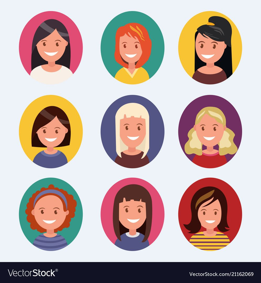 A Set Of Female Avatars With Different Hairstyles Vector Image On Vectorstock Female Avatar Hair Vector Different Hairstyles