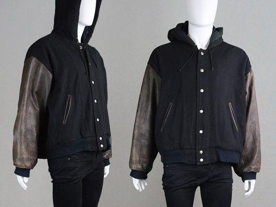 Vintage 90s Letterman Jacket Wool Jacket Leather Sleeves Etsy Wool Jacket Letterman Jacket Leather Sleeve