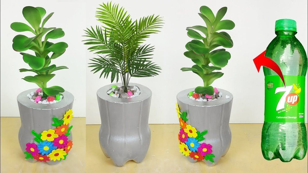 Plastic bottle Flower Pot // Cement Tree Pot making at home  sc 1 st  Pinterest & Plastic bottle Flower Pot // Cement Tree Pot making at home ...