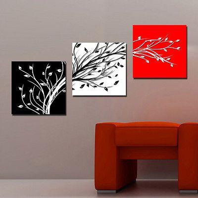 LW007 Bild Wandbild Leinwand Bilder Kunstdruck Schwarz Weiß Rot Blatt Zweig 3tlg