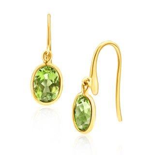 Peridot Drop Earrings In 9ct Yellow Gold Image A
