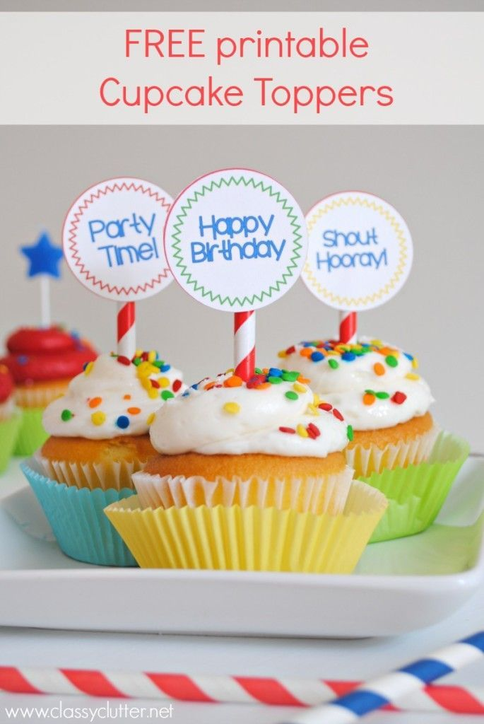 Free printable Birthday Cupcake Toppers (With images ...