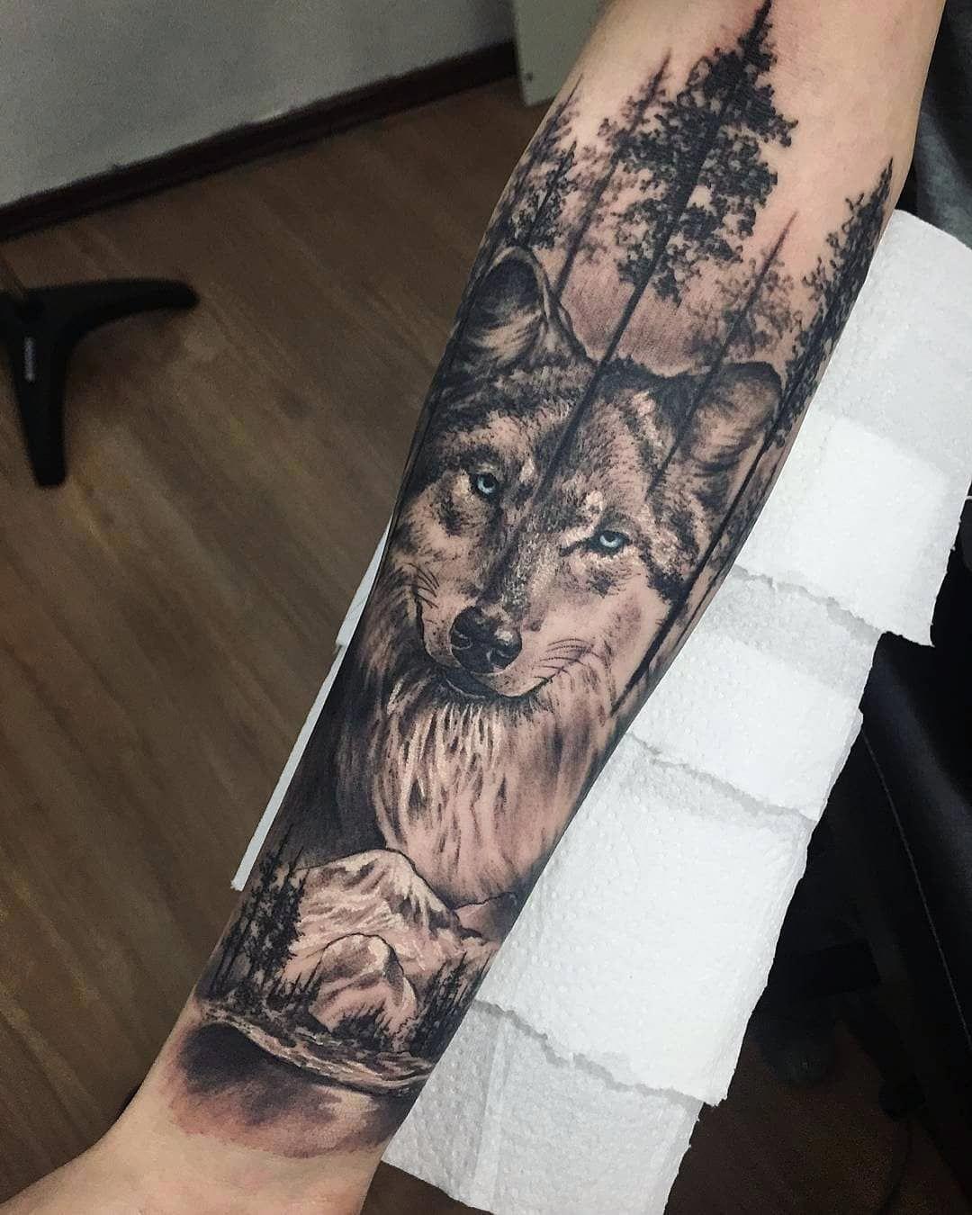Full Sleeve Tattoos Black Fullsleevetattoos Wolf Tattoo Sleeve Wolf Tattoo Design Wolf Tattoos Men