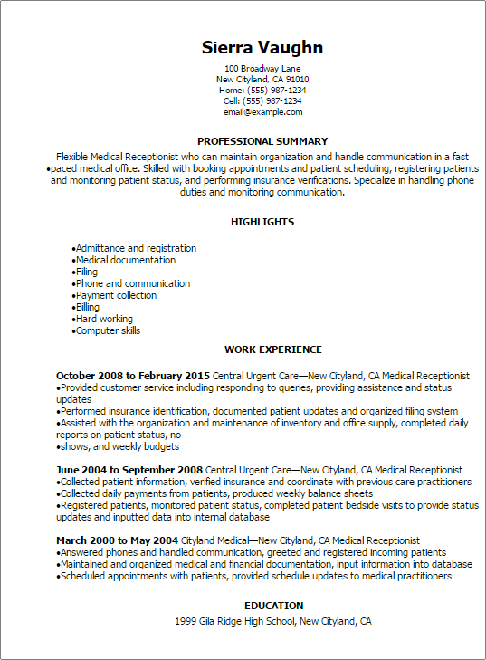 Resume Templates Medical Receptionist Resume  FinleyS Finds