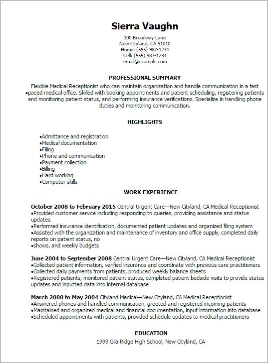 Resume Templates Medical Receptionist Resume Nursing Resume Template Hr Resume Human Resources Resume