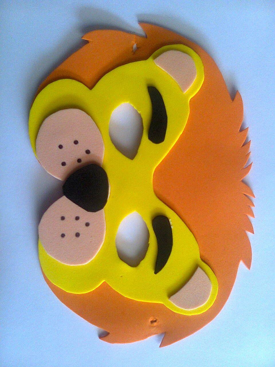 Mascara leon manuali en corrospun y pa o masca - Mascaras para carnaval manualidades ...