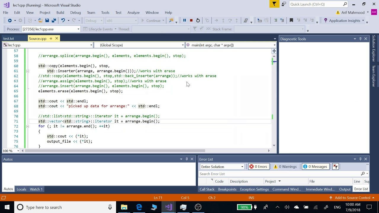 Lists Vectors in c++ and c with copy assign insert