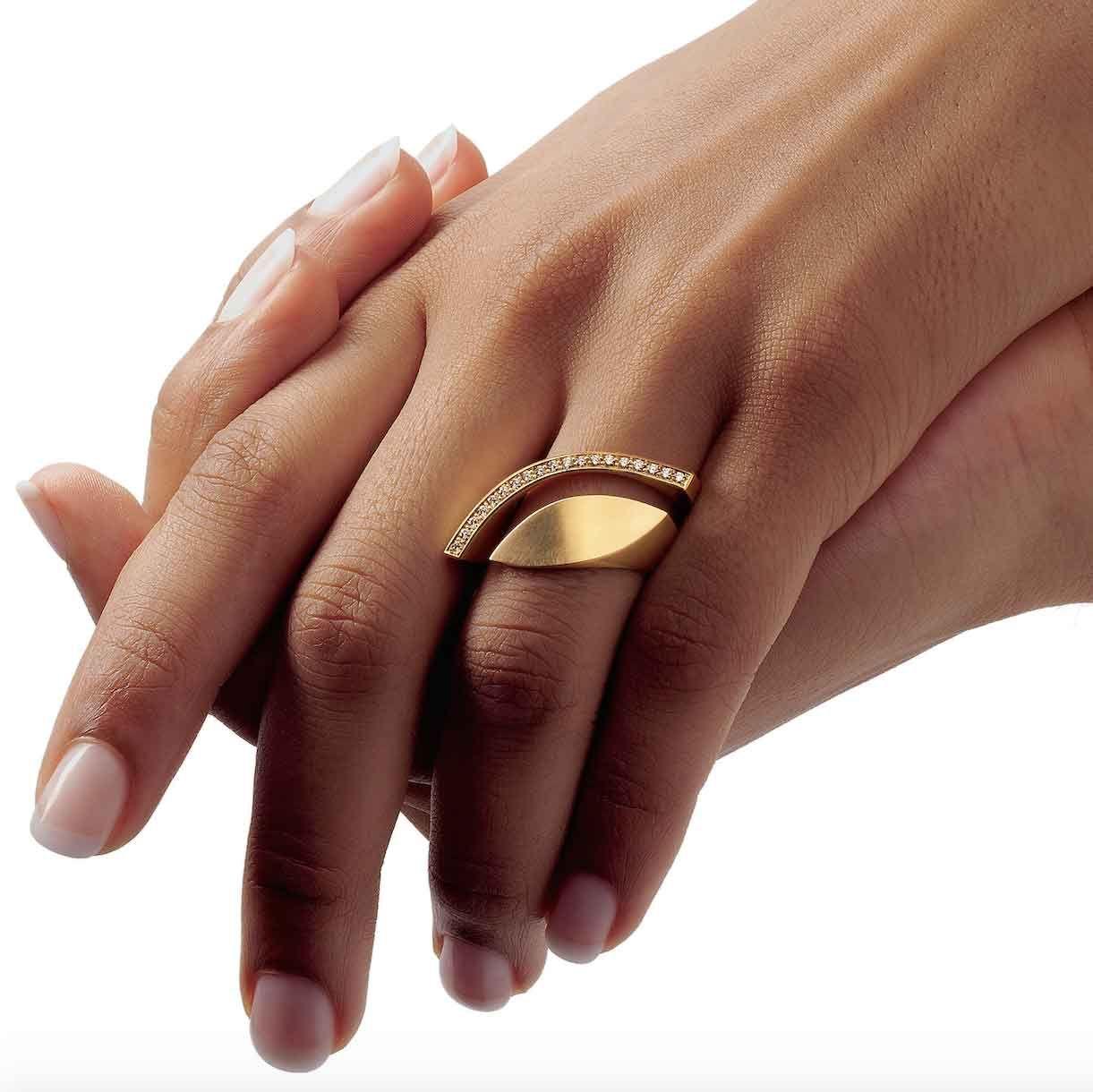 Elegant ORRO Contemporary Jewellery Glasgow Angela Hubel Gold Diamond Eye Ring brilliant cut diamonds
