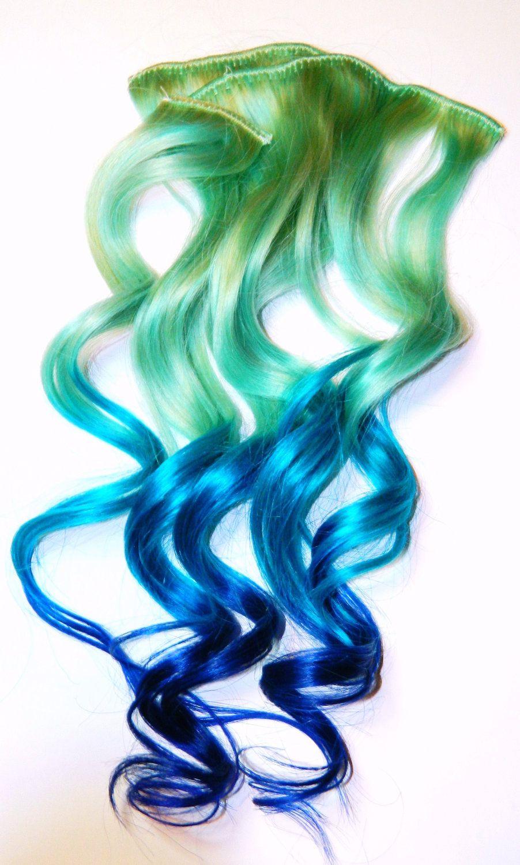 Pastel Mermaid Ombre Clip In Human Hair Extensions Dip Dye Tye Dye