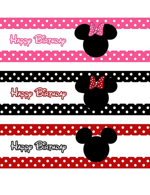 Printable Minnie Mouse Bowtique Water Bottle Labels Minnie Mouse Water Labels Minnie Mouse Birthday party Minnie Mouse and Daisy labels BWQ1