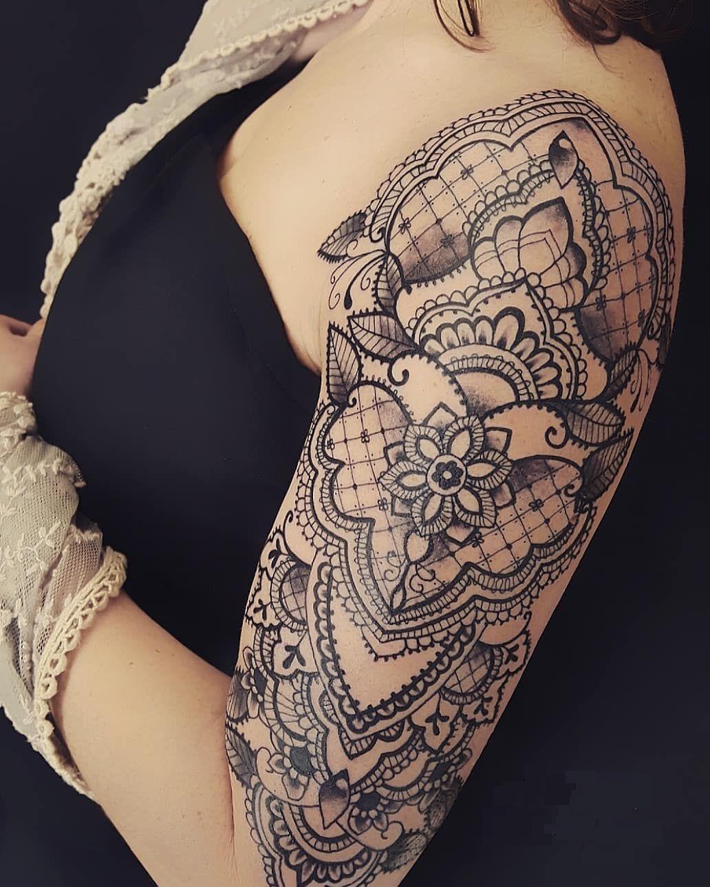 Lace Tattoo Ideas C Tattoo Artist Alex Labeguerie Lace Tattoo Lace Shoulder Tattoo Lace Sleeve Tattoos
