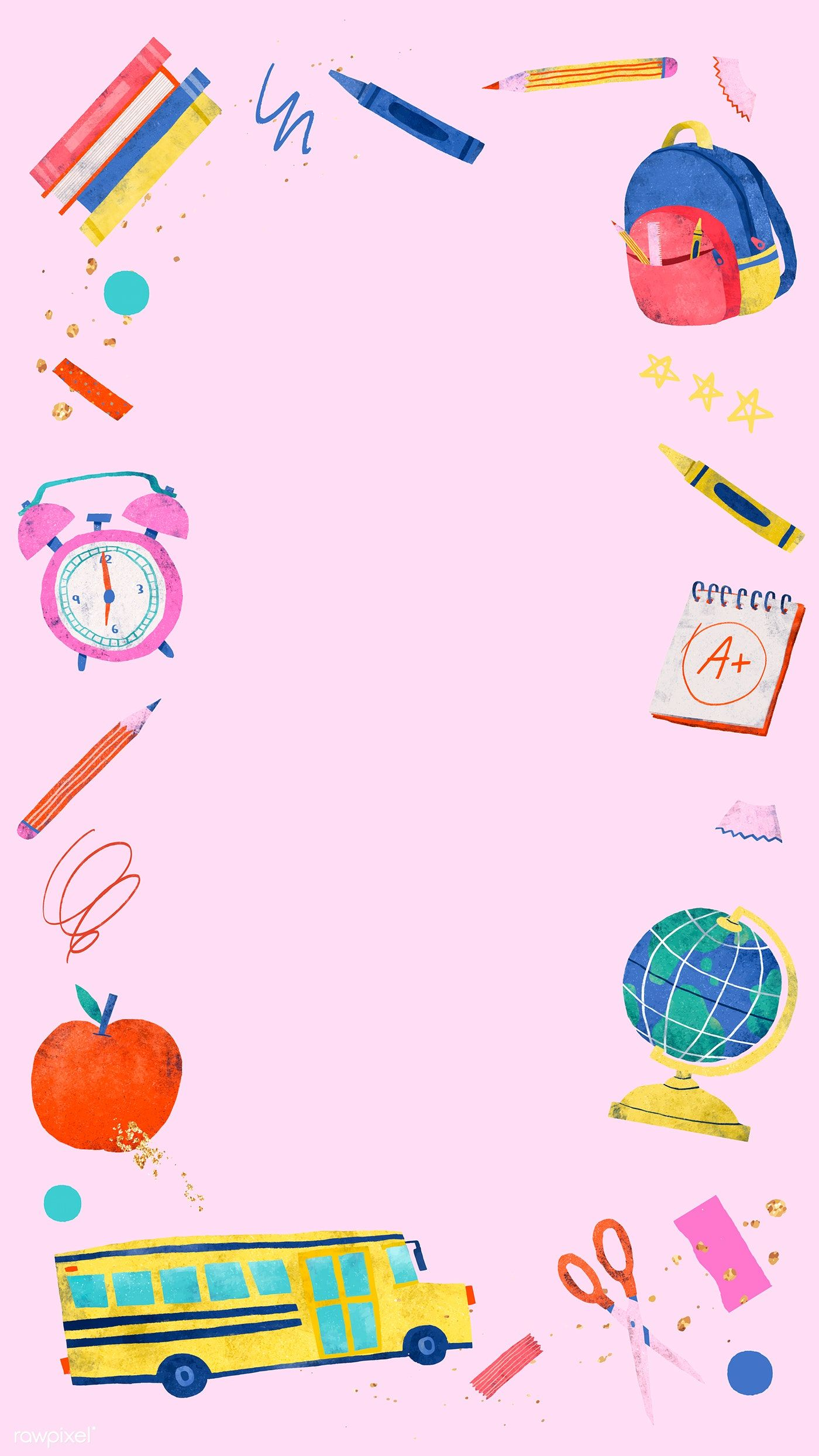Download Premium Vector Of Blank Pink Back To School Mobile Phone Teacher Wallpaper Back To School Wallpaper Instagram Wallpaper