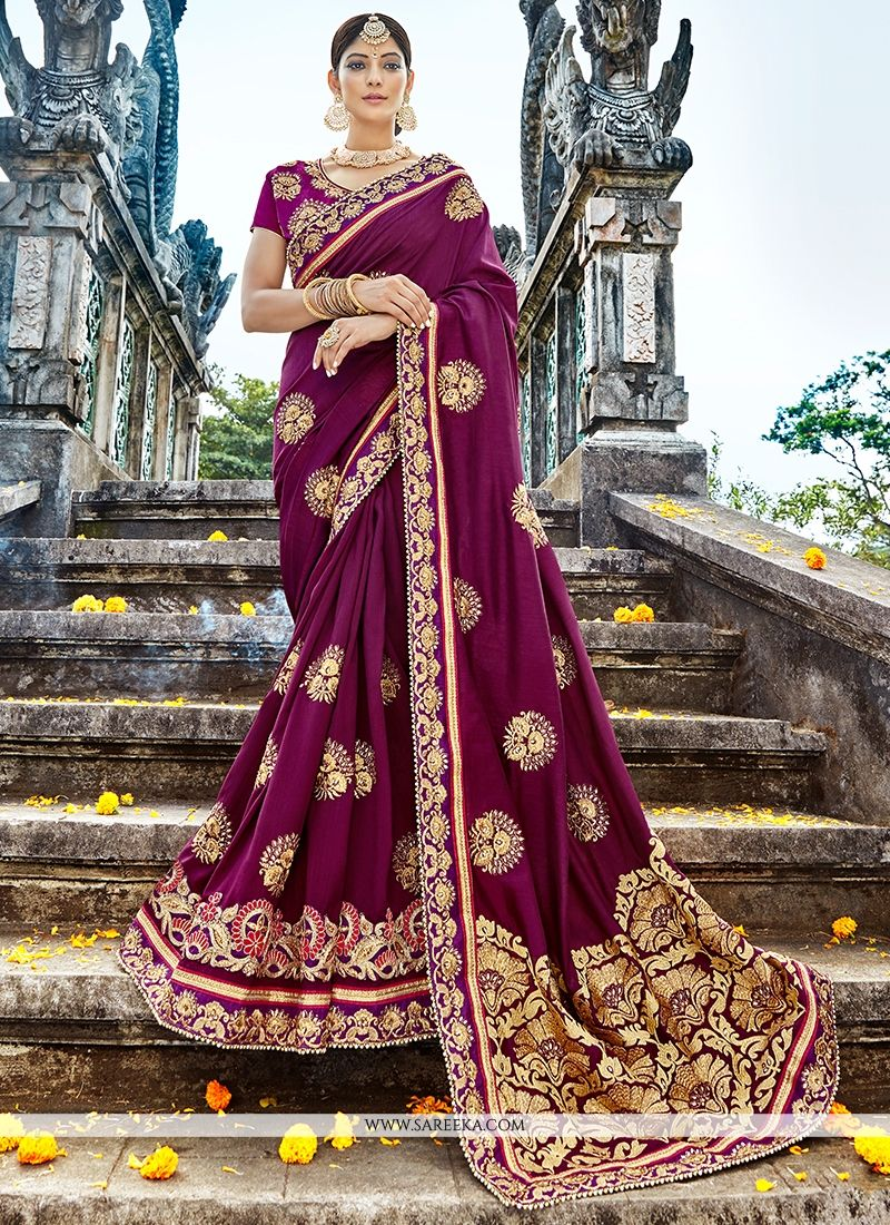 698ca047c Get here the latest and exclusive collection of saree. Buy online glamorous  purple classic designer saree for mehndi