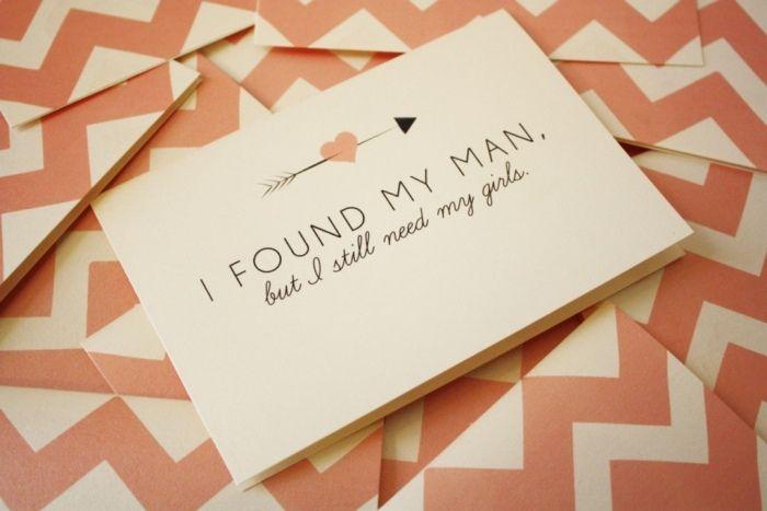 Einfache aber wirkungsvolle Einladungskarte für Brautjungfern