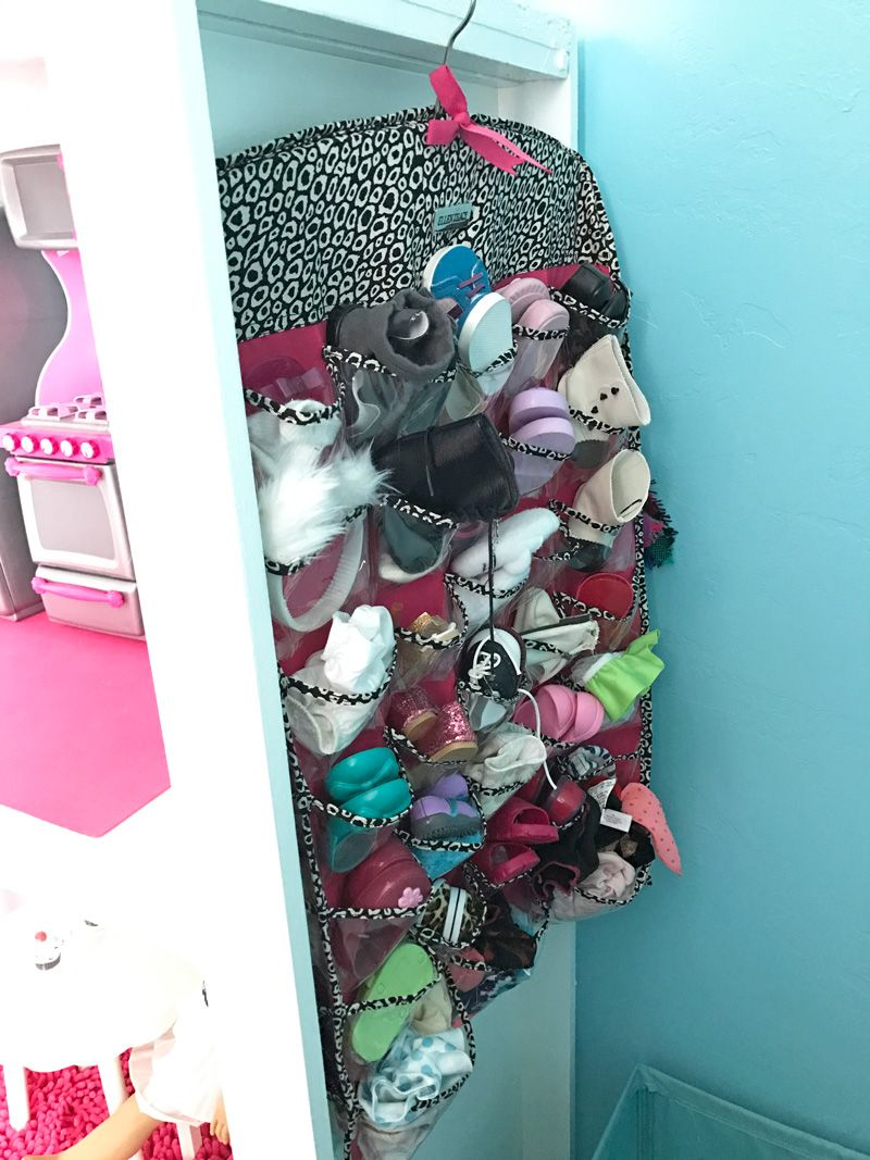DIY American Girl Doll storage for clothes, shoes, and accessories.