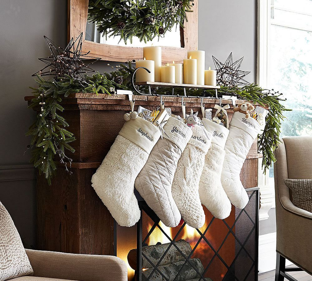 Personalized Alpaca Faux Fur Stocking White Christmas Stockings