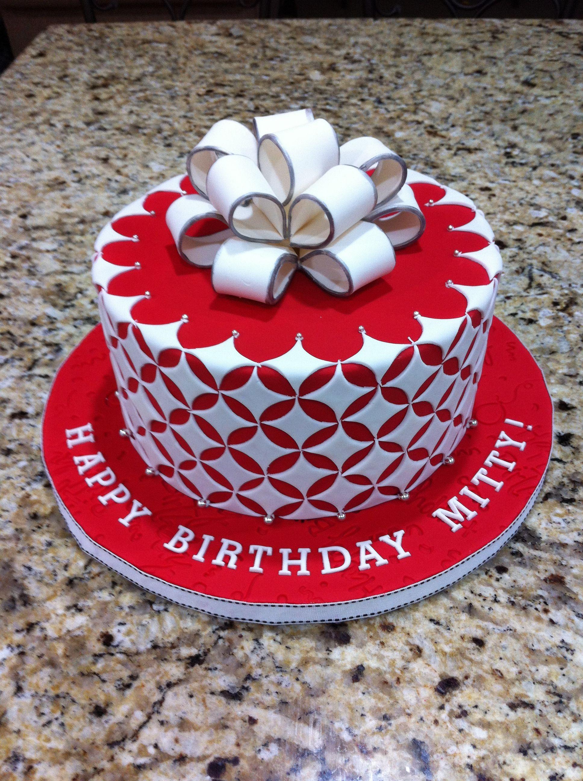 Red and White Ribbon Cake   Cake decorating, Ribbon cake, Cake