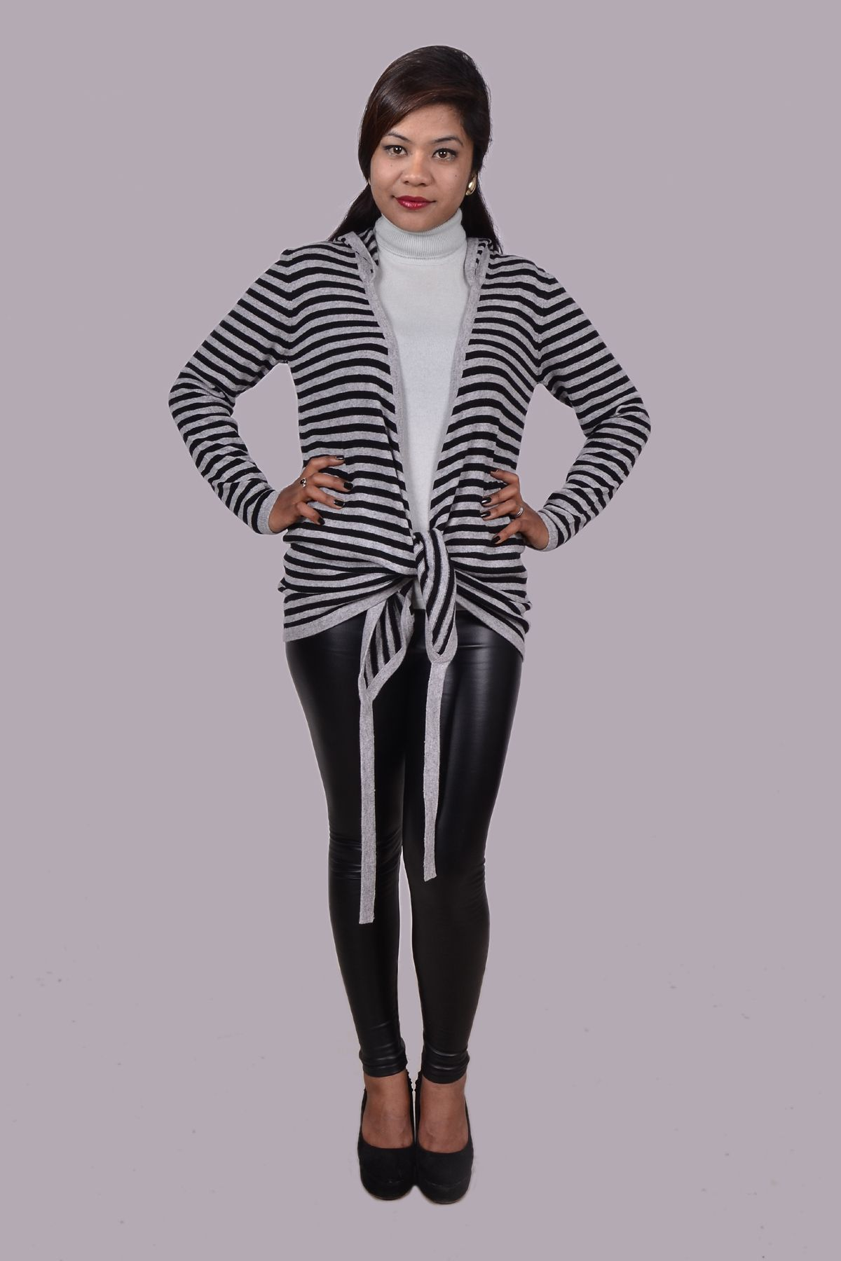 Cashmere striped hooded wrap.