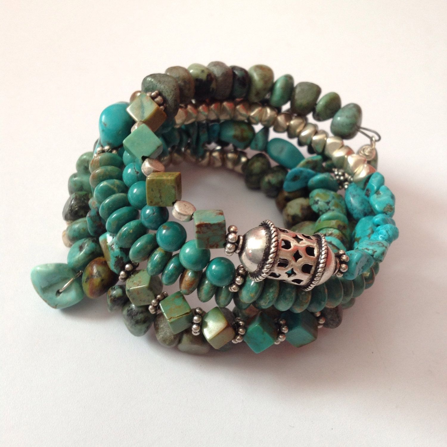 Turquoise Cuff With Sterling And White Brass Share