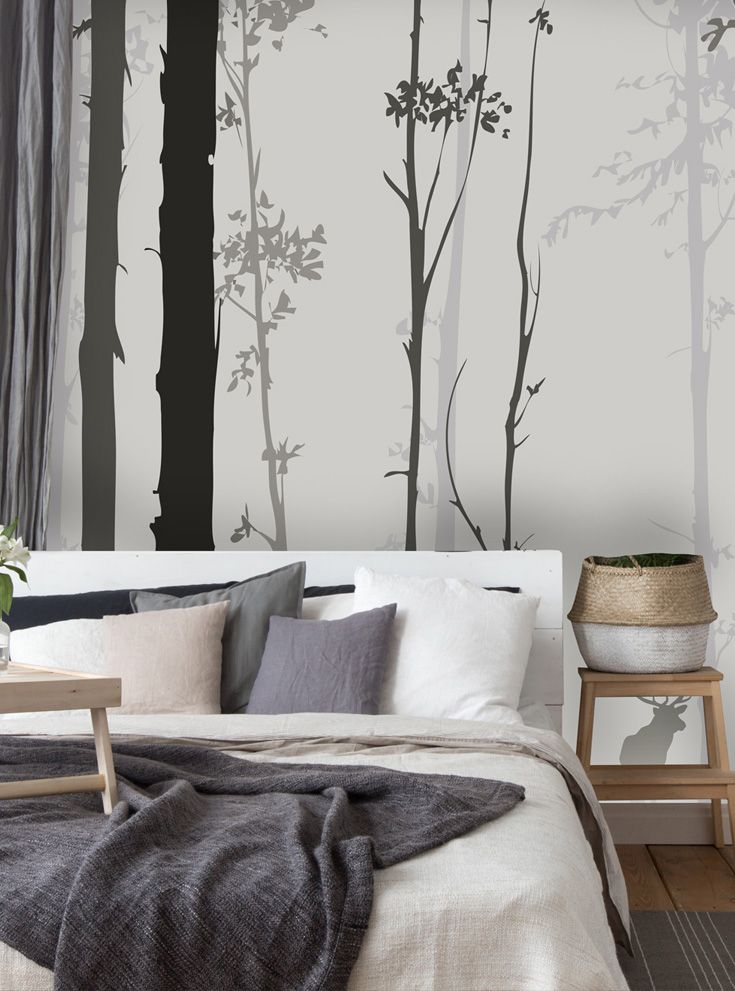 Forest Silhouette Wallpaper Wallsauce Us Feature Wall Bedroom Woodland Wallpaper Wall Decor Bedroom