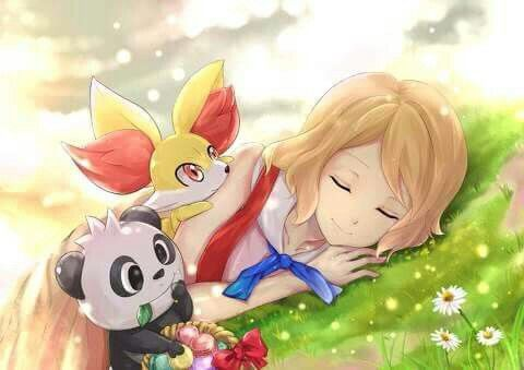 Serena with her Fennekin and her Pancham ♡ I give good credit to whoever made this
