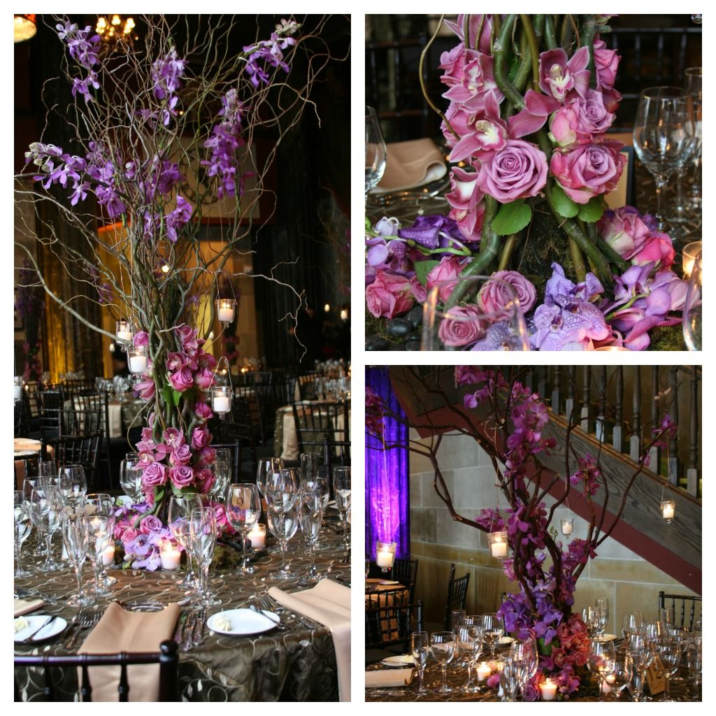 Curly willow and purple roses centerpiece dream wedding for Casa decoracion willow