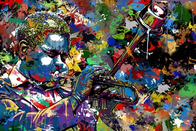 Jazz Artwork Painting By Maxwell Dickson Found In The Art Gallery This Particular Canvas Art Has Lots Of Paint Sp Jazz Painting Pop Art Canvas Jazz Artwork