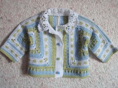 Детская кофточка Часть 1 Children s zip jacket Crochet Part 1 0d4a5d402d9