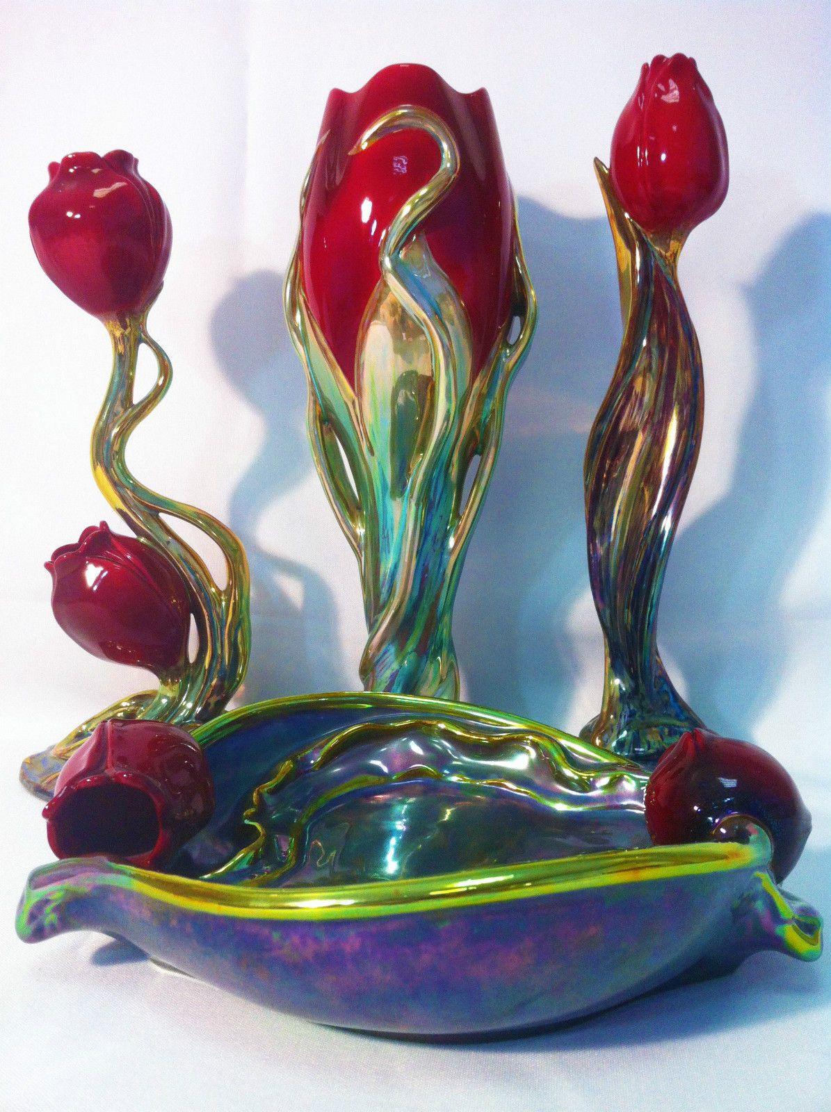Zsolnay Iridescent Eosin Small Frog Figurine Unique Color