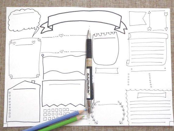 journal blank boxes printable planner agenda di LaSoffittaDiSte