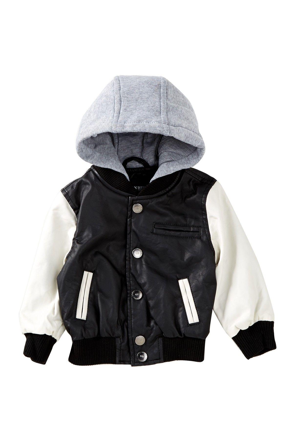 388f3b29902f Fleece Hooded Faux Leather Varsity Jacket (Baby Boys)
