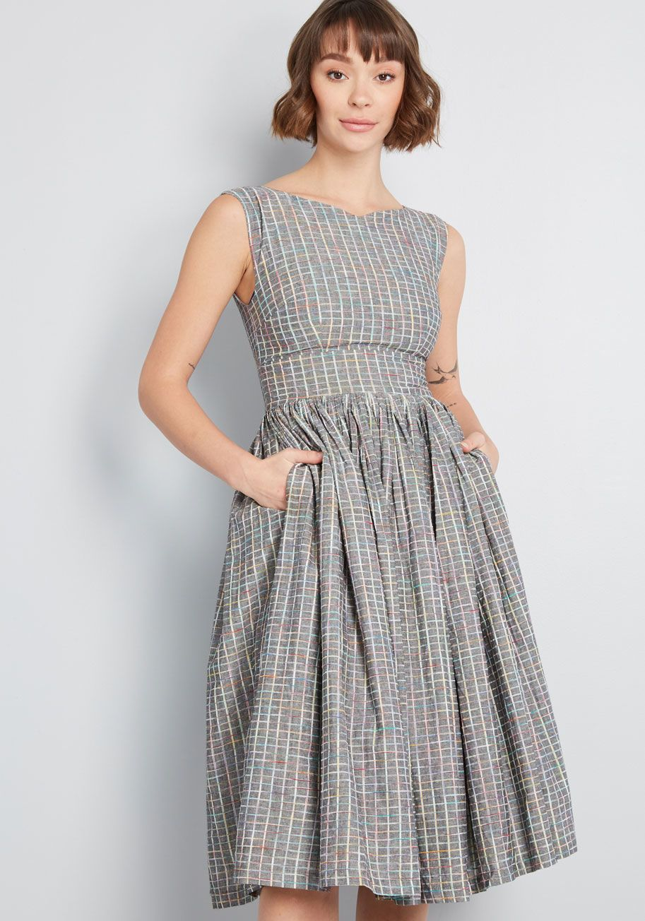 ee4aba82d43a ModCloth Fabulous Fit and Flare Dress with Pockets Navy Multi | ModCloth