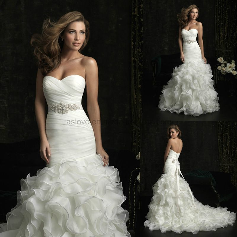 Mermaid Wedding Gown Organz Sweetheart Dress