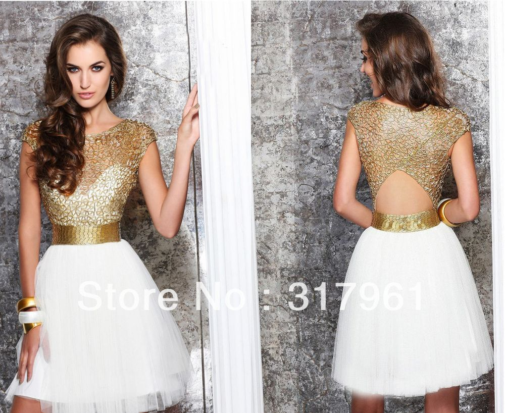 Gold and White A-Line High Neck Mini Cocktail Dresses With Short ...