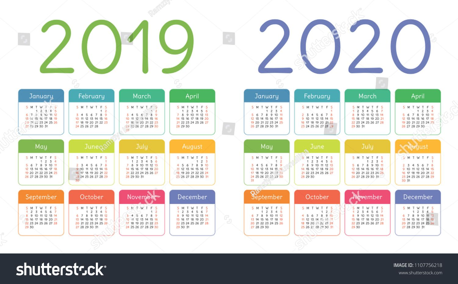 Calendar 2019 2020 Years Colorful Calender Set Week Starts On