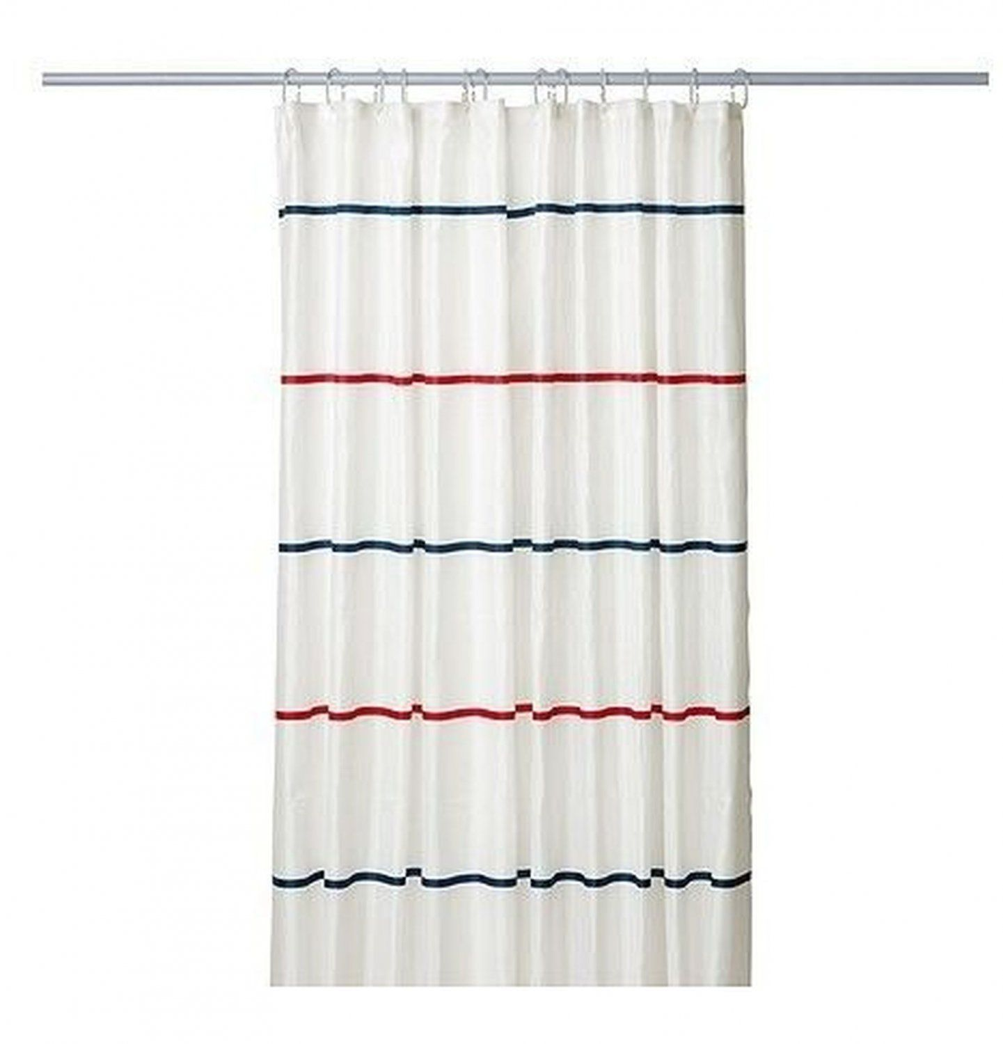 Ikea Myrviken Fabric Shower Curtain Blue Red White Stripe Nautical