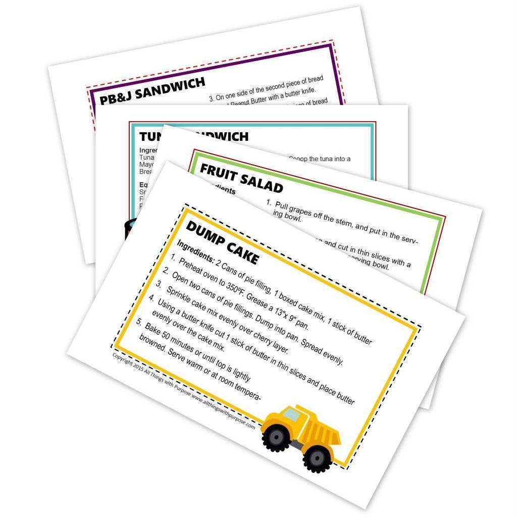 Free Preschool Recipe Cards