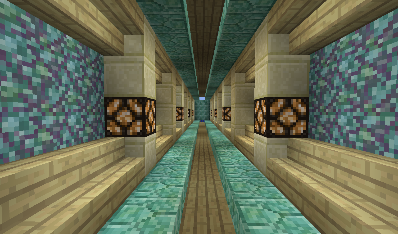Birch Sandstone And Prismarine Blocks Look Pretty Together Minecraft Architecture Minecraft Houses Minecraft Plans
