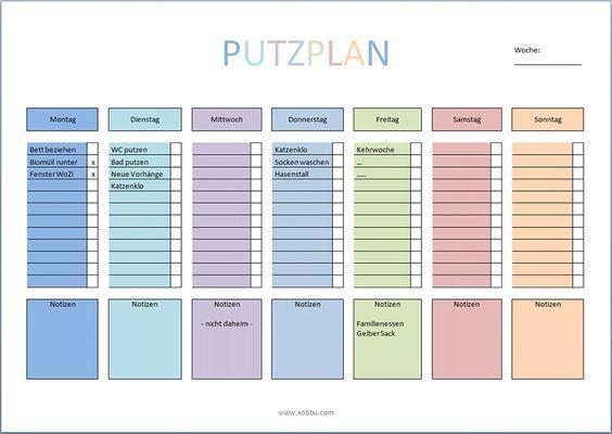 Putzplan Haushalt Vorlage PDF   Kalender   Pinterest   Bullet and ...