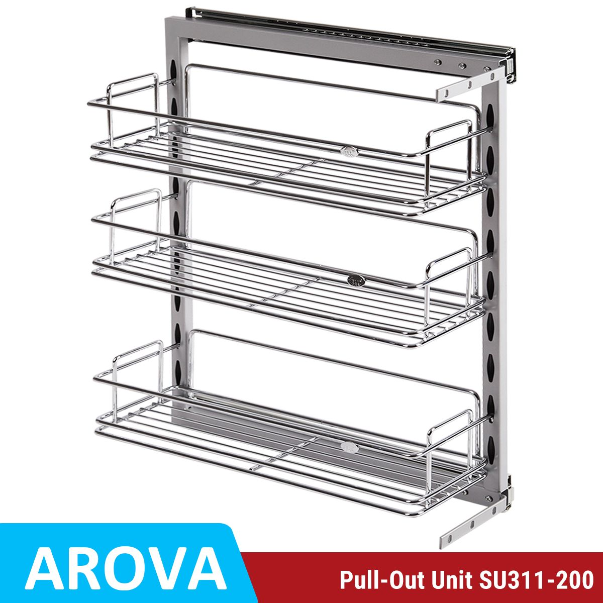 Pull Out Pantry Chrome Basket For 200mm Base Cabinet