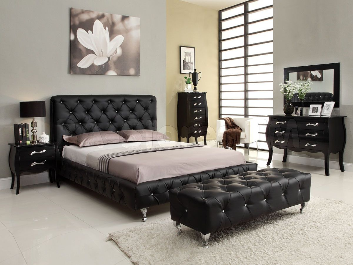 Marlo Furniture Bedroom Sets Amazing Black Bedrooms  Maria Stylish Bedroom Set In Black  $187200 Design Ideas
