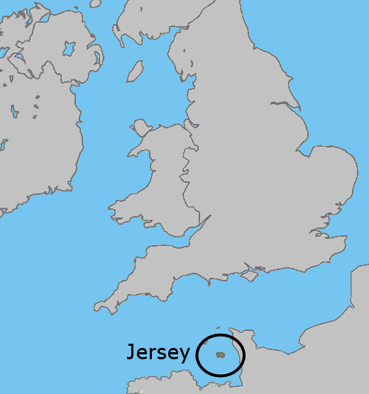 Jersey, U.K. This map shows where is Jersey, a British channel ...