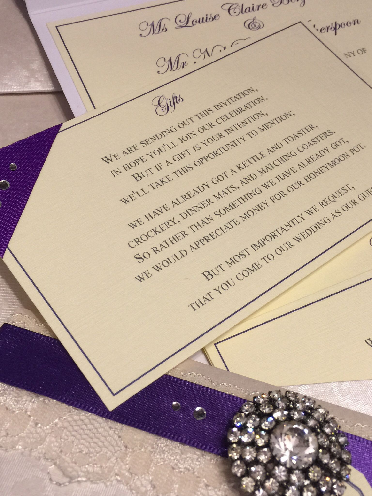 Purple pocketfold wedding invitation with gift insert. Vintage ...