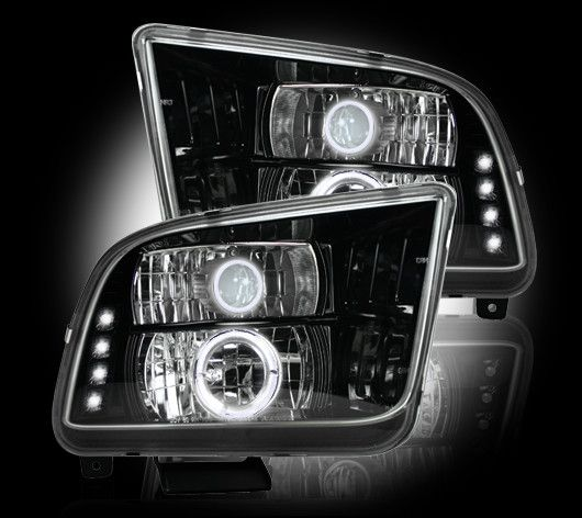 Recon Part 264197bk Ford Mustang Gt 05 09 2005 2006 2007 2008 2009 Projector Headlights W Led Halos Drls S Mustang Projector Headlights Led Tail Lights