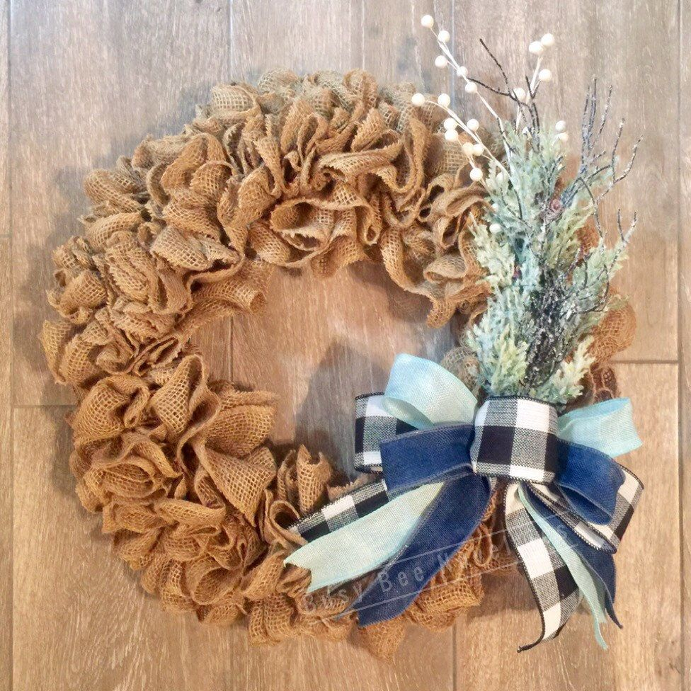 Winter Frost Burlap Wreath, Blue, Buffalo plaid Burlap