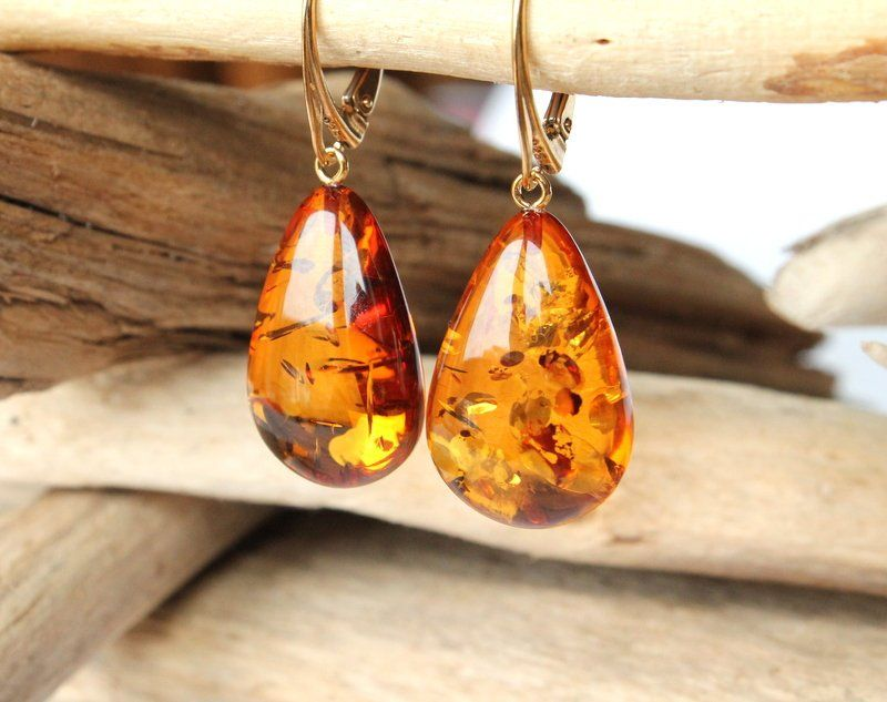 Unique Baltic Amber Earrings Tear Drop Hand Made
