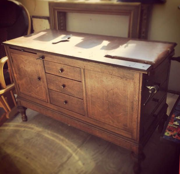 Kitchen Island Made From Old Desk: Vintage Medical Exam Table. Would Make A Great Desk Or